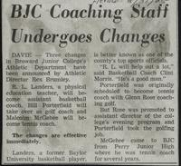 BJC Coaching Staff Undergoes Changes