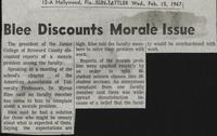 Blee Discounts Morale Issue