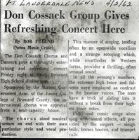 Don Cossack Group Gives Refreshing Concert Here