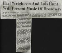 Earl Wrightson And Lois Hunt Will Present Music Of Broadway