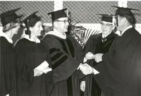 Dr. Blee was all smiles at commencement ceremonies