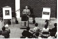 John H. Payne addresses the audience at dedication ceremonies