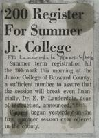 200 Register For Summer Jr. College